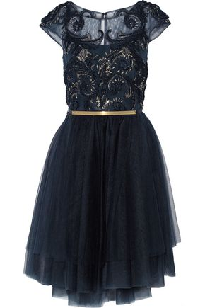 MARCHESA NOTTE Embellished tulle dress