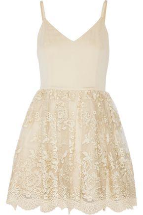ALICE+OLIVIA Julianne Ballerina crepe de chine and embroidered tulle mini dress