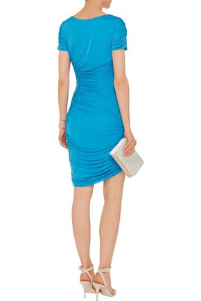 HALSTON HERITAGE Gathered jersey mini dress