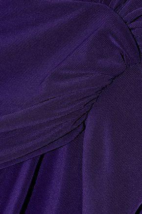 BADGLEY MISCHKA Draped stretch-jersey gown