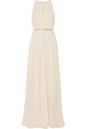HALSTON HERITAGE Embellished plissé-georgette gown