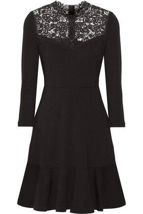 ERDEM Reiko crochet-paneled stretch-ponte dress