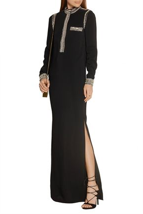 LANVIN Embellished stretch-crepe gown