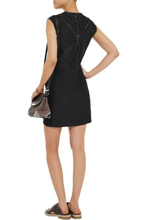 IRO Ambre leather-trimmed cotton and silk-blend mini dress