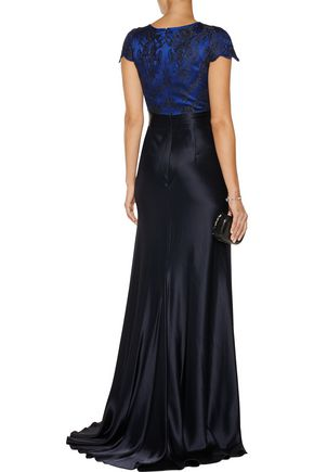 CATHERINE DEANE Lace-paneled satin gown