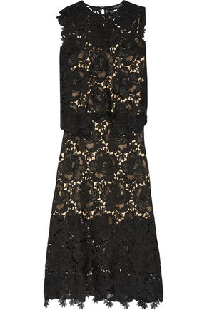 CATHERINE DEANE Ennis faux leather-trimmed lace midi dress