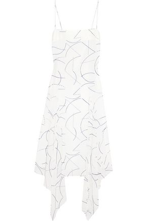 DION LEE Asymmetric printed silk-georgette midi dress