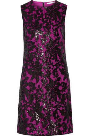 DIANE VON FURSTENBERG Kaleb appliquéd lace and sequined stretch-crepe dress