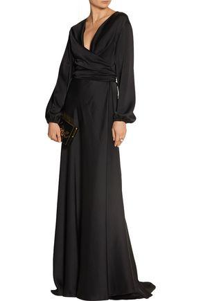 VICTORIA BECKHAM Satin-crepe wrap gown