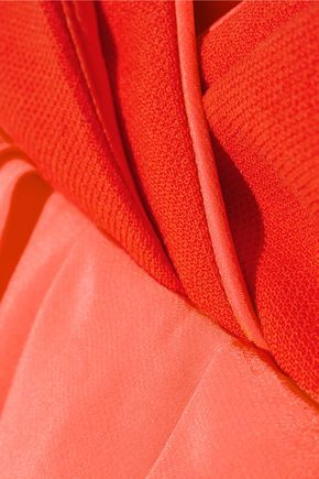 VICTORIA, VICTORIA BECKHAM Ruffled silk-trimmed wool mini dress