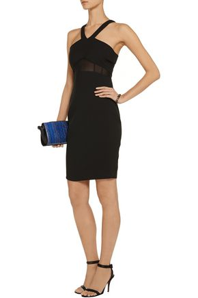 ELIZABETH AND JAMES Brinley mesh-inserted jersey mini dress