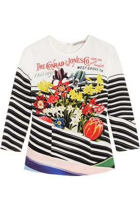 MARY KATRANTZOU Napel printed silk crepe de chine top