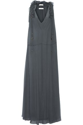 CHLOÉ Ruffle-trimmed silk-georgette gown