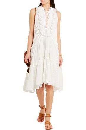 CHLOÉ Ruffled broderie anglaise cotton-voile dress