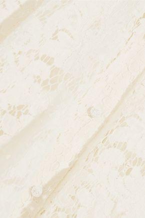 SAINT LAURENT Cotton-blend lace mini dress