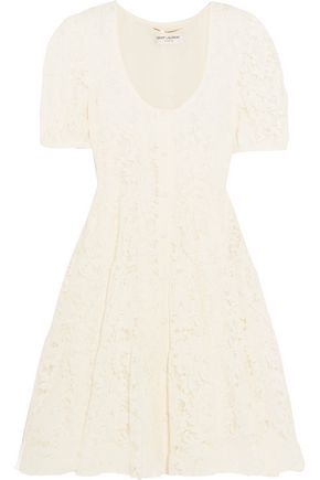 SAINT LAURENT Cotton-blend lace mini dress