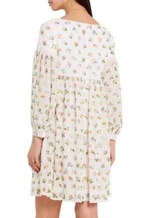 SAINT LAURENT Floral-embroidered silk-georgette mini dress