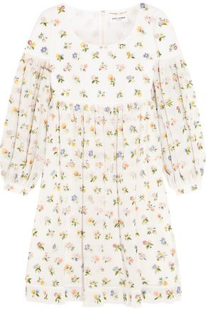 SAINT LAURENT Floral-embroidered silk-georgette mini dress