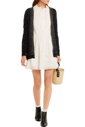 SAINT LAURENT Prairie broderie anglaise cotton mini dress