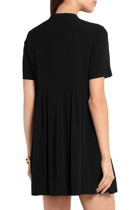 SAINT LAURENT Bow-embellished pleated crepe mini dress