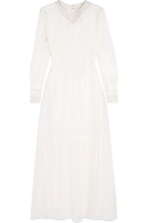 SAINT LAURENT Crochet-trimmed cotton-voile maxi dress