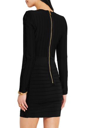 BALMAIN Lace-up ribbed stretch-knit mini dress