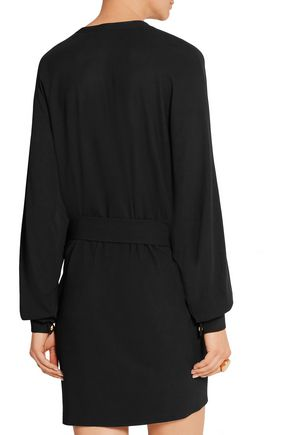 BALMAIN Lace-up stretch-crepe mini dress