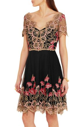 MARCHESA NOTTE Floral-embroidered tulle mini dress