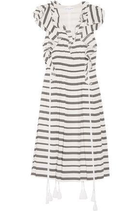 APIECE APART San Rafael ruffled striped linen and silk-blend dress