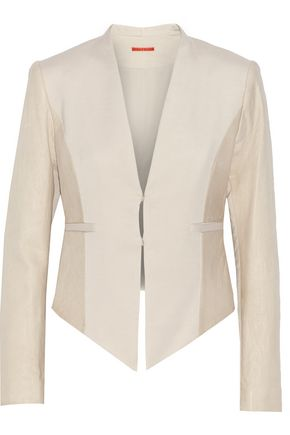 ALICE + OLIVIA Textured leather-paneled crepe jacket