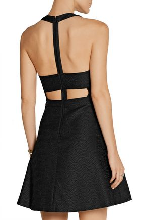 ALICE + OLIVIA Danie cutout pleated jacquard mini dress