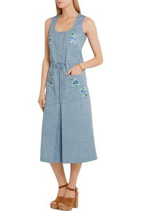 VILSHENKO Sid embroidered chambray midi dress