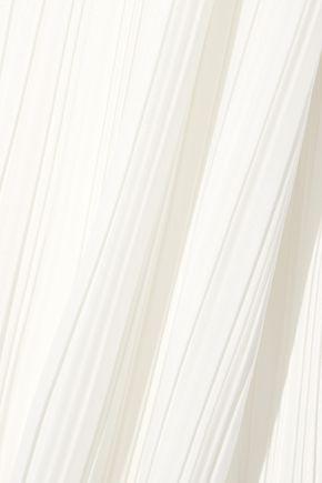 ADAM LIPPES Asymmetric plissé-satin dress