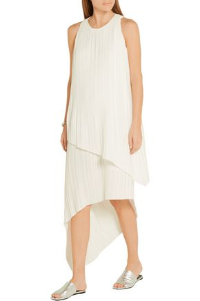 ADAM LIPPES Asymmetric plissé-satin dress