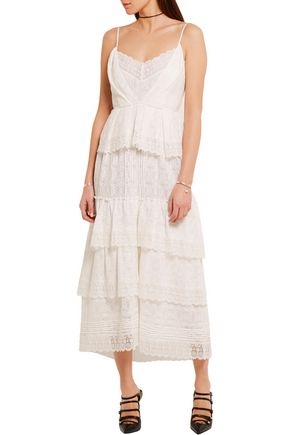 ERDEM Justina tiered crocheted cotton-blend lace dress