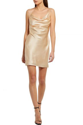 SAINT LAURENT Silk-satin mini dress
