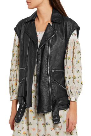 SAINT LAURENT Textured-leather biker gilet