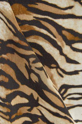 SAINT LAURENT Tiger-print silk-georgette gown