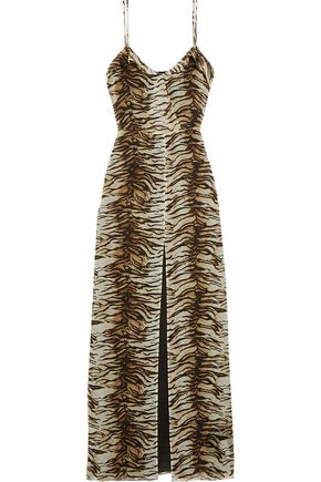 SAINT LAURENT Tiger-print silk-georgette gown