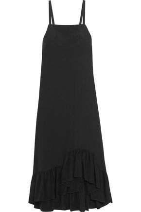 ISA ARFEN Ruffled silk crepe de chine dress
