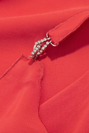 LANVIN Crystal-embellished crepe mini dress