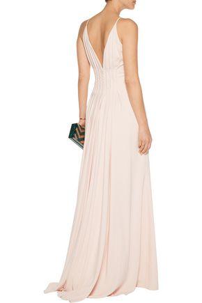 BADGLEY MISCHKA Pleated cady gown