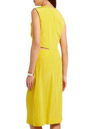 JIL SANDER Cutout silk-blend habotai dress