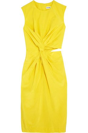 JIL SANDER Cutout silk-blend habotai dress
