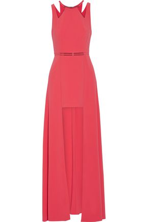 HALSTON HERITAGE Embellished stretch crepe de chine gown