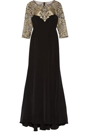 MARCHESA NOTTE Embroidered stretch-silk and tulle gown