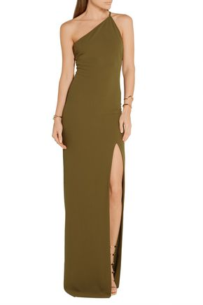 SOLACE LONDON Petch one-shoulder crepe maxi dress