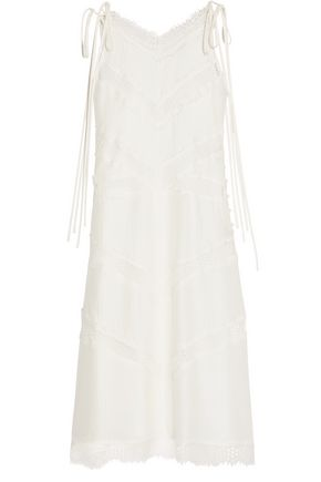 WES GORDON Lace-paneled silk and wool-blend midi dress