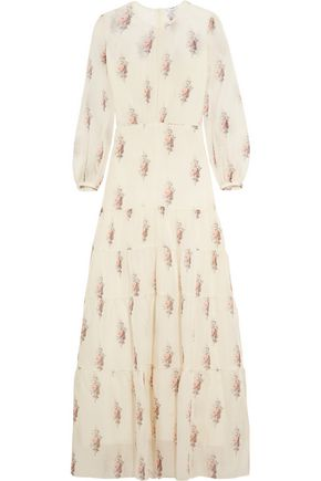 VILSHENKO Gigi floral-print silk and cotton-blend gauze maxi dress