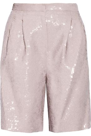 TIBI Sequined crepe shorts